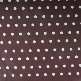Small dots Coated Cotton Fabric - white/chocolate background x 10cm