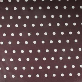 Tissu enduit coton petits pois fond chocolat