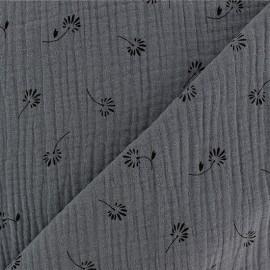 Double gauze Cotton fabric - Dark grey Bloom x 10cm