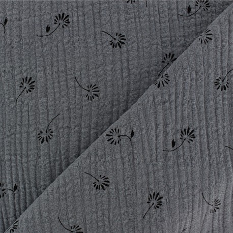 Double gauze Cotton fabric - Dark grey Bloom x 10cm