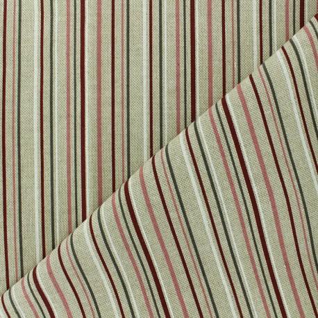 Tissu polycoton - Rayure champêtre - naturel x 10cm