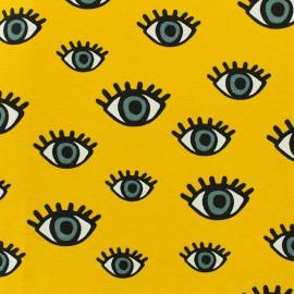 Tissu polycoton - Third Eye - jaune x 10cm