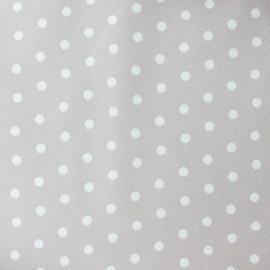 Tissu enduit coton petits pois fond grès