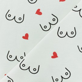 Polycotton fabric - white Boobies with love x 10cm