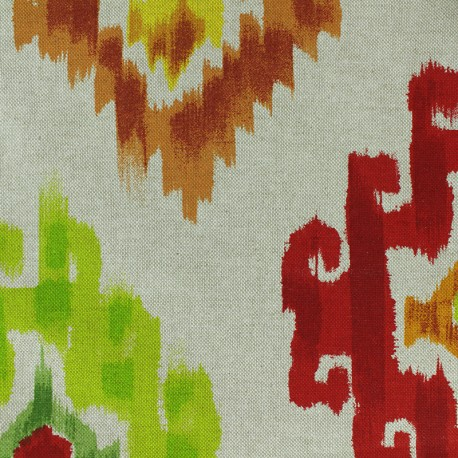 Polycotton fabric - Fire/Natural Aztec x 30cm