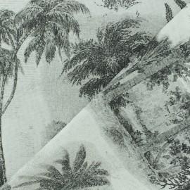Polycotton fabric - Grey palm grove x 60cm