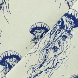 Tissu toile de coton Méduse - naturel x 50cm