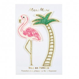 Meri Meri Iron On Patch - Flamingo & Palm Tree