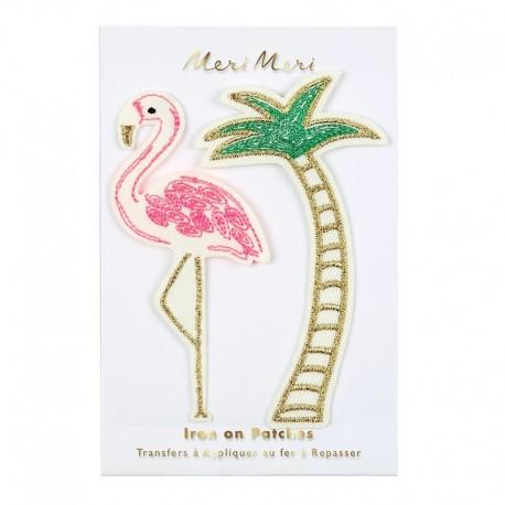 Meri Meri Iron On Patch - Flamingo & Palm Tree