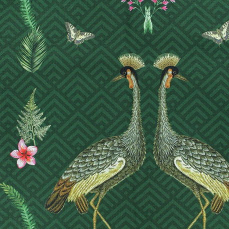 Cotton fabric - Green Exotic Kingdom x 32cm