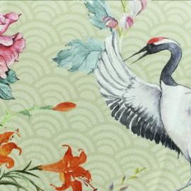 Tissu coton Exotic Crane - beige x 32 cm