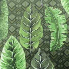 Digital print velvet fabric - green Exotic leaves x 40cm