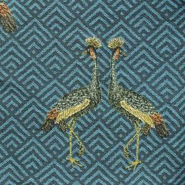 Tissu Jacquard Grue royale - blue x 25cm