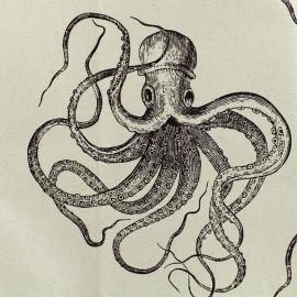Tissu toile de coton Octopus - naturel x40cm