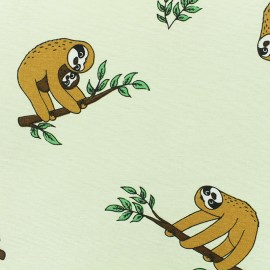 Polycotton fabric - Straw yellow Curious Sloth x 10cm