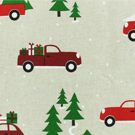 Polycotton fabric - Natural Christmas Drive x 30cm