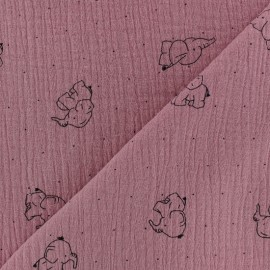 Double gauze Cotton fabric - old pink elephant x 10cm