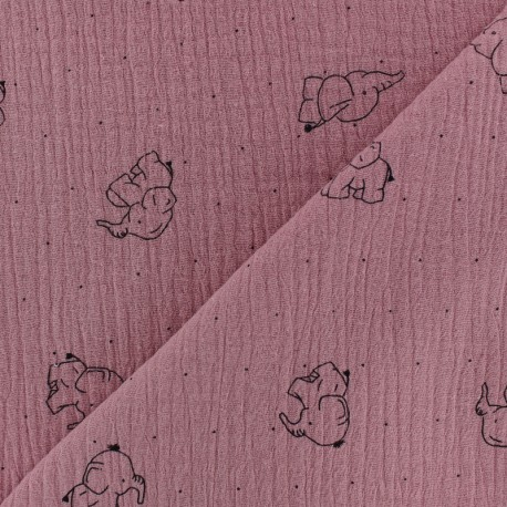 Tissu double gaze de coton Elephant - vieux rose x 10cm