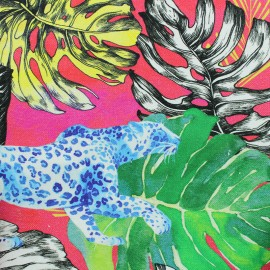 Canva Cotton fabric - Pink Jungle vibes x 40cm