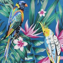 Tissu velours ras Palawan - Bleu paon x 40cm