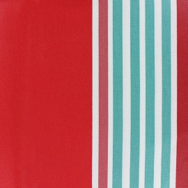 Tissu coton enduit rayé Iraty - rouge x 10 cm