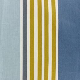 Tissu coton enduit rayé Iraty - bleu x 10 cm