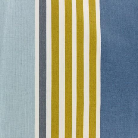 Coated cotton fabric - blue Iraty stripes x 10cm