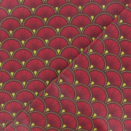 Matte Coated Cotton Fabric - red Doucet x 10 cm