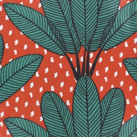 Matte Coated Cotton Fabric - Brick red Mabibi x 20 cm