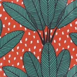 Tissu coton enduit mat Mabibi - brique x 10 cm