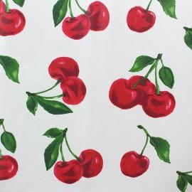 Tissu coton enduit mat Cherry - écru x 10 cm