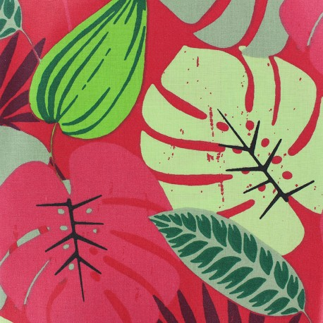 Matte Coated Cotton Fabric - red Antilles x 10 cm