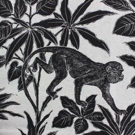 Cotton Canvas fabric - Black Gibbon x 40cm