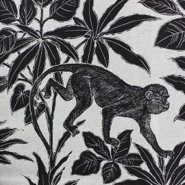 Tissu toile de coton Gibbon - noir x 40 cm