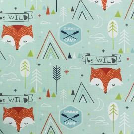 Tissu coton cretonne Summer camp - vert mint x 10cm