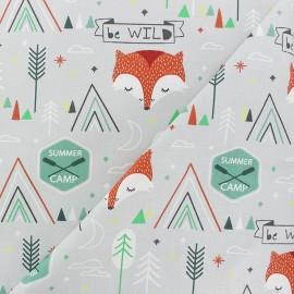 Cretonne cotton fabric - Mint green Summer camp x 10cm