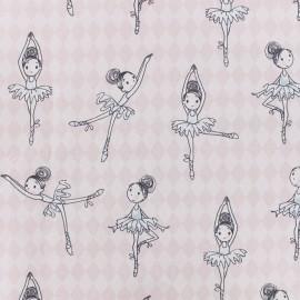 Tissu Percale de coton danseuse - rose x 10cm