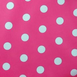 Tissu enduit coton pois rose/turquoise