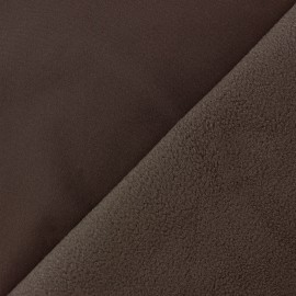 Water-repellent Softshell fabric - chocolate brown x 10cm
