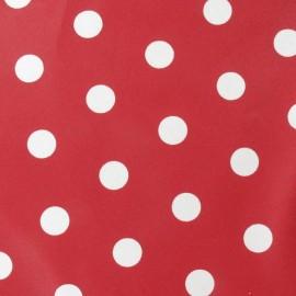 Tissu enduit coton pois rouge