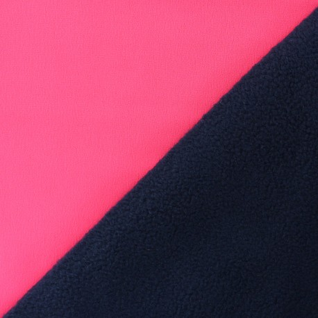 Tissu Softshell Bicolore - rose fluo x 10cm
