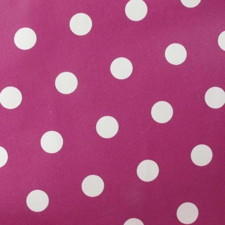 Dots Coated Cotton Fabric - White / Dark Purple background x 10cm