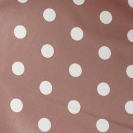 Tissu enduit coton pois blanc fond brun x 10cm