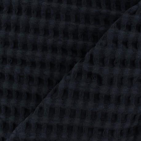 Tissu coton nid d'abeille XL - bleu nuit x 10cm
