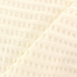 Double-sided Big Waffle cotton fabric - milk white x 10cm