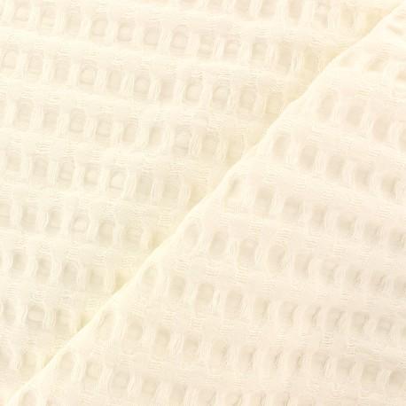 Double-sided Big Waffle cotton fabric - milk white x 10cm