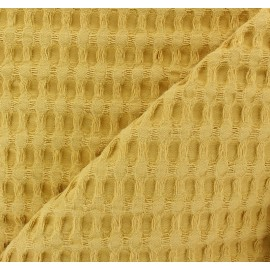 Double-sided Big Waffle cotton fabric - mustard yellow x 10cm