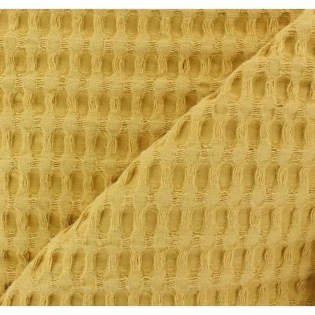 Tissu coton nid d'abeille XL - moutarde x 10cm