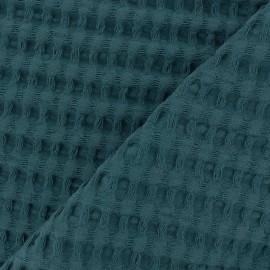 Tissu coton nid d'abeille XL - vert paon x 10cm