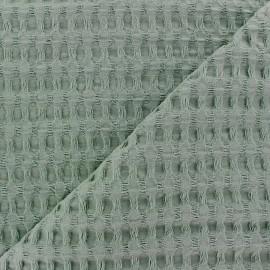 Tissu coton nid d'abeille XL - vert eucalyptus x 10cm